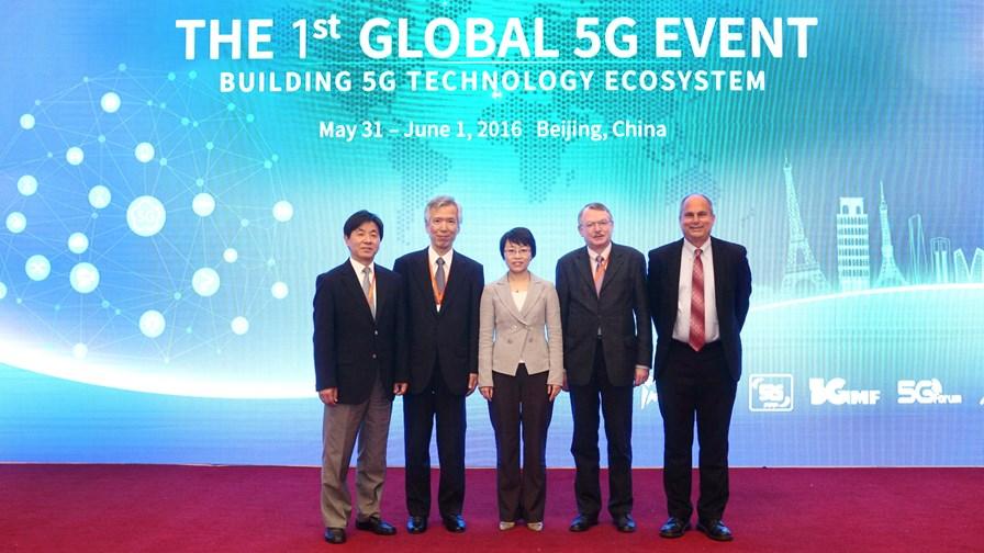 © 5G-PPP (l-r) Youngnam Han, Susumu Yoshida, Cao Shumin, Werner Mohr, Chris Pearson