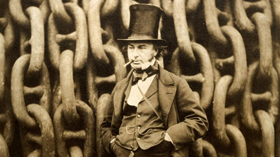 Isambard Kingdom Brunel standing in front of some Victorian communications infrastructure.