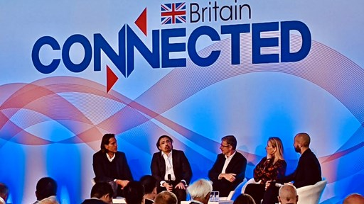 Connected Britain 2021 panel debate featuring (left to right): Virgin Media O2 CEO Lutz Schüler; Ahmed Essam, CEO, Vodafone UK; Howard Watson, BT's Group CTO; Karen Egan, Senior Telecoms Analyst, Enders Analysis; and Thomas Seal, TMT Reporter, Bloomberg News