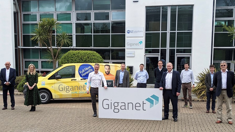 Key members of the Giganet team outside the company's offices in Fareham, UK