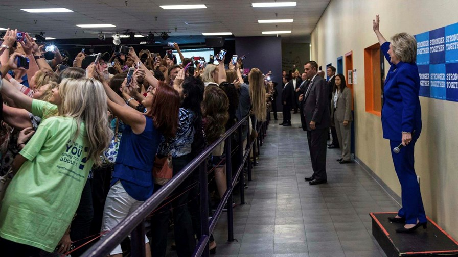 Selfie Queen Hillary Clinton on the campaign trail and unphased by mass backward snapping