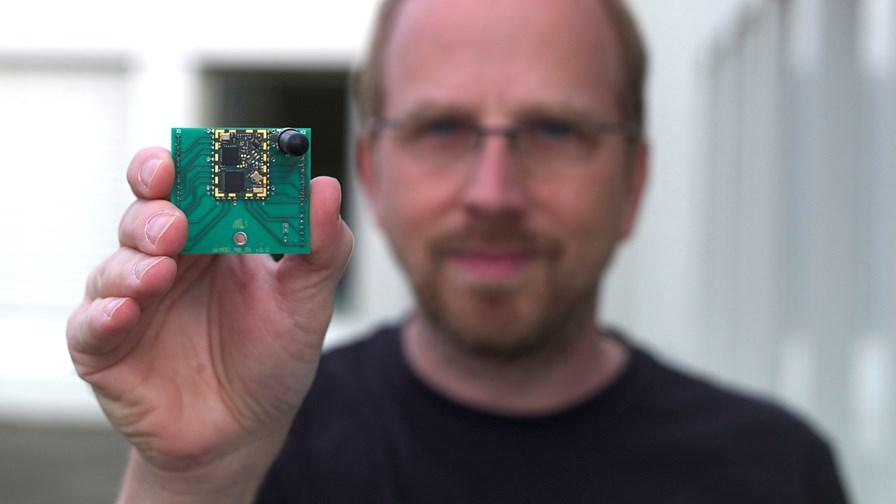 IBM's Thorsten Kramp with a LoRaWAN module © IBM Research