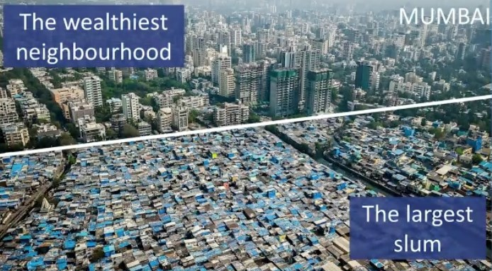 Huge disparity of wealth starkly illustrated in this view of Mumbai