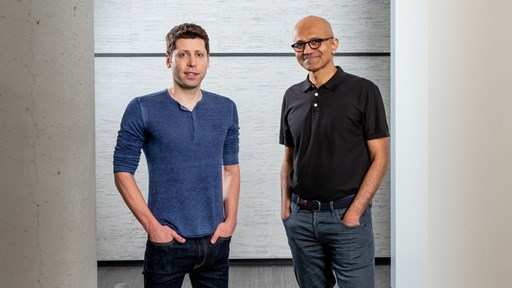Sam Altman, CEO of OpenAI (left), and Microsoft CEO Satya Nadella.    Source: Microsoft