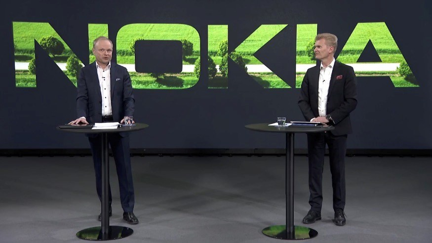 Nokia CEO Pekka Lundmark (left) and CFO Marco Wirén during the Q1 2021 results webcast