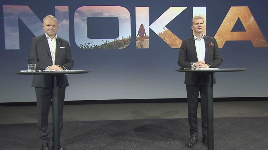 Nokia CEO Pekka Lundmark (left) and CFO Marco Wirén