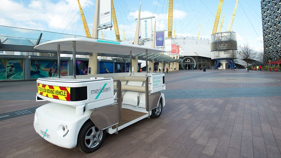 Driverless shuttle at the London GATEway project © DfT