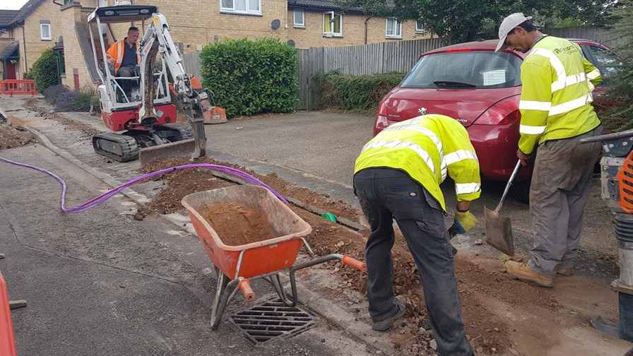 Contractors laying fibre in Milton Keynes, UK