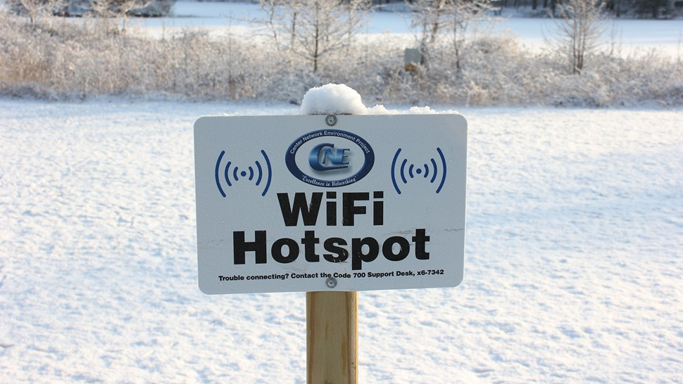 WiFi hotspot in snow